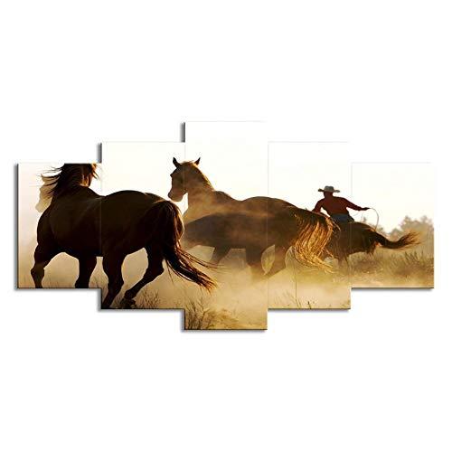 """WLWIN Bild 200x100 cm/ 78.8\""""x 39.4\"""",4 Größen erhältlich,Bild auf Leinwand fertig gerahmte Bilder 5 Teile,Kunstdrucke, Wandbilder ,Leinwandbilder,Geschenke, Pferd"""