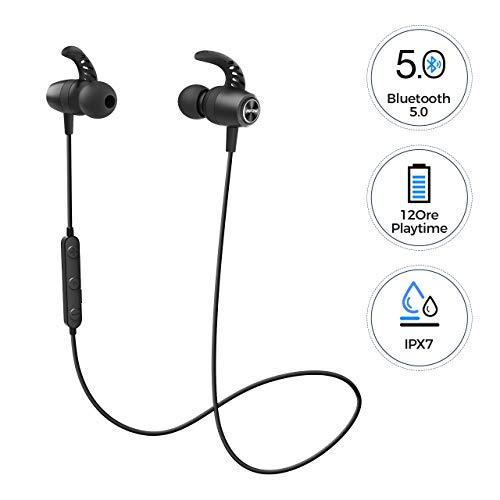 MPOW S16 Auricolari Wireless Sport 12H Playtime, Cuffie Bluetooth Magnetici impermeabili IPX7 con Bassi Stereo HD, Microfono Incorporato, Auricolari wireless Bluetooth 5.0 per IOS, Android