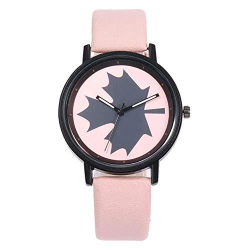 MSYOU Damen-Armbanduhr Casual Pärchen Casual Leder Größe verstellbar, Rosa