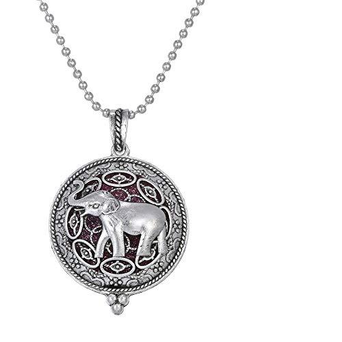 DGSDFGAH Halskette Mit Anhänger Silber Elefant Aromatherapie Halskette Diffusor Schmuck Vintage Offene Medaillon Anhänger Ätherisches Öl Parfüm Aroma Diffusor Halskette
