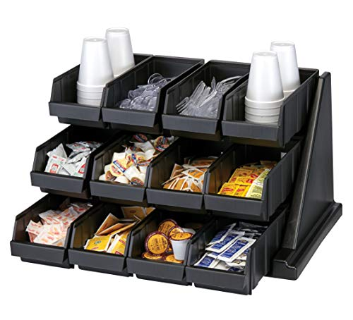 Cambro 12RS12110 Black Versa Self Serve Condiment Bin Stand Set with 3-Tier Stand and 12' Condiment Bins Case of 1