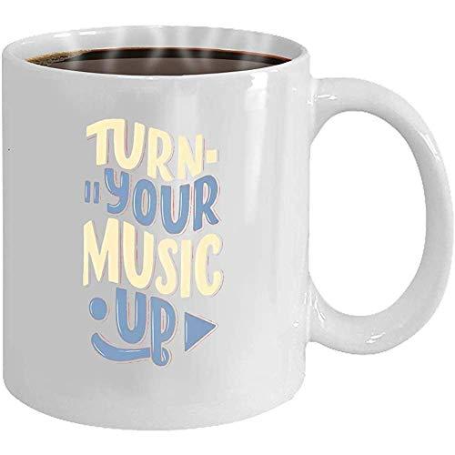 Cita inspirada de la taza de té de cerámica blanca sobre la música