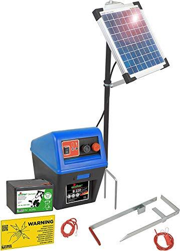 Rieten hek B 220+, 9/12 volt, blauw + 5 watt op zonne-energie - langere looptijd van de batterij door zonne-energie - ideaal voor paarden-/ponyhek