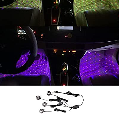 Led Lights for Car, Car Light Accessories, 7 Colors, Voice Control Mode, 4 Lamp Beads, Magic Ball, Car Roof Star Night Light, USB Cable to Show The Romantic Atmosphere