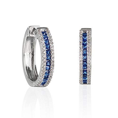 Namana Silber Creolen in Blau für Damen. Creolen für Frauen mit Blauen CZ Steinen. Farbige Creolen für Damen mit Steinen mit Geschenkbox.