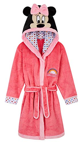 Disney Minnie Mouse Girls Dressing Gown, Fleece Robe 3D Ears for Kids Toddlers (Pink, 11-12 Years)