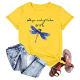 Women Dragonfly T-Shirt Whisper Words of Wisdom Let It Be Funny Saying Shirt Casual Short Sleeve Graphic Tees Tops Yellow