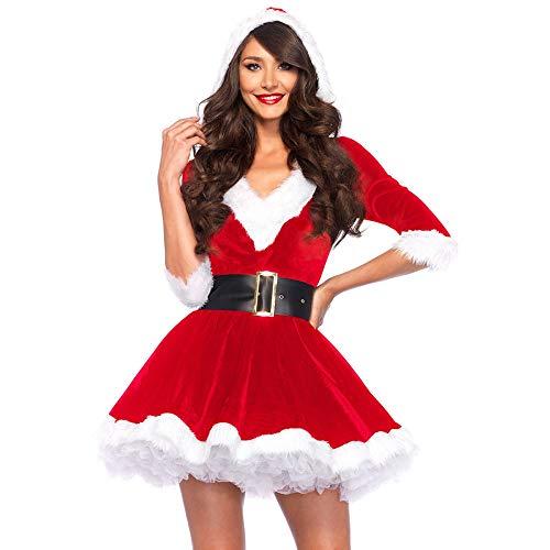 Edith qi Costume da Babbo Natale, Abiti da Donna,Vestito da Costume,Abito Fantasia Natalizio con Cappuccio con Cintura,Abito da Babbo Natale in 2 Pezzi Christmas Dress