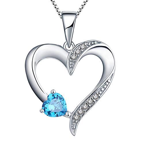 YL Collar de plata 925 collar de corazón de amor con 5 MM * 5 MM AAA corazón de luz azul colgante de joyería de piedras preciosas para damas y niñas, 45-50 cm