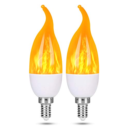 Severino - LED Flame Effect Light Bulbs - 3 Modes Flickering Flame Candelabra Christmas Decorations...