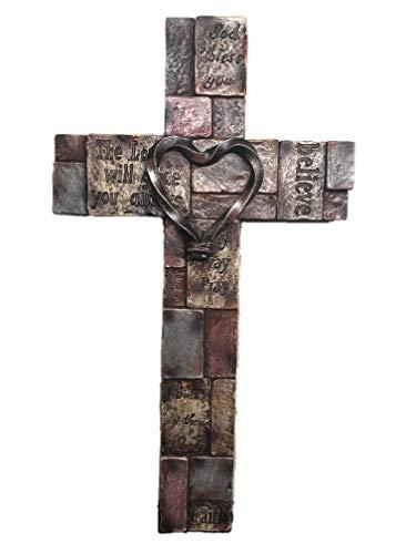 Polly House 12 Inch Bible Verses on Stone Bricks with Heart Wall Cross Wall Decor Wall Art 7343S