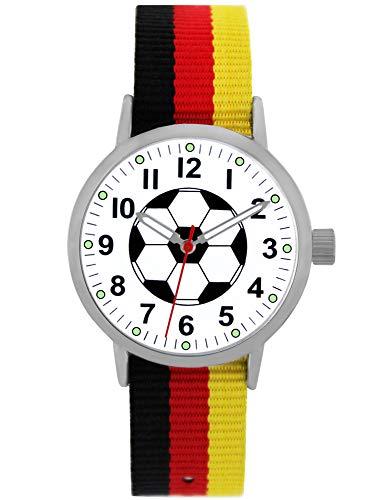 Pacific Time Kinder Armbanduhr Jungen Fußball Zeiger leuchten im Dunkeln Wechsel Textilarmband Deutschland Analog Quarz 87021