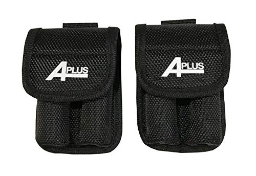 2 Packs of Aplus Nylon Case Pouch Holder Bag Storage for 2 x 18650 Battery W/Belt Holster (Batteries NOT Included) (Fits Samsung 25r, LG HE2 HG2, and All 18650)
