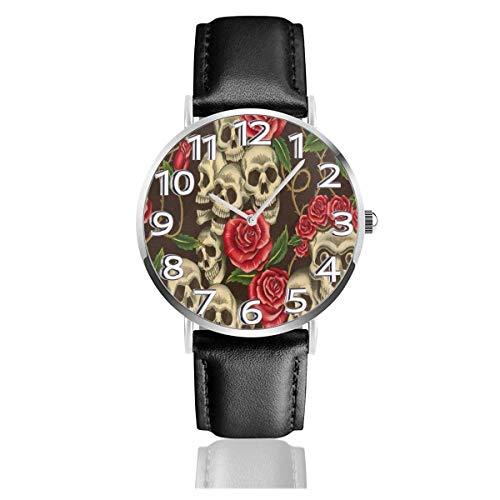 Reloj de Pulsera Flor Calavera Vintage Durable PU Correa de Cuero Relojes de Negocios de Cuarzo Reloj de Pulsera Informal Unisex