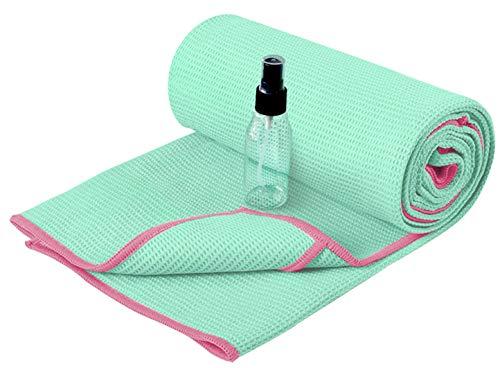 Heathyoga Yoga Handtuch mit hoher Bodenhaftung-Silikonbeschichtung, rutschfest-Wet Grip, 72