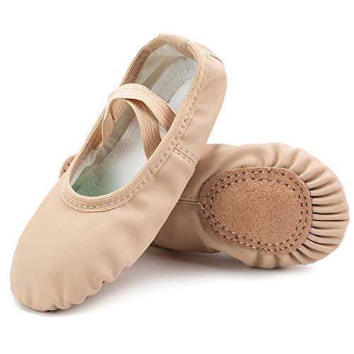 L-Run Damen Ballettschuhe Split-Sole Canvas Dance Gymnastik Yoga Schuhe Wohnungen Aprikose, EU 27