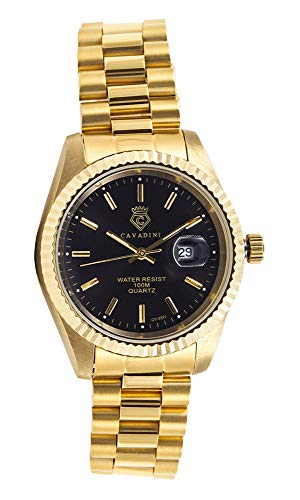 CAVADINI Herren-Armbanduhr Leonardo Analog Quartz mit Edelstahlarmband CV-332 (schwarz/Gold)