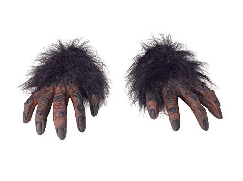 shoperama Behaarte Hände Braun Kostüm-Zubehör AFFE Werwolf Gorilla Monster Finger Klauen Erwachsene