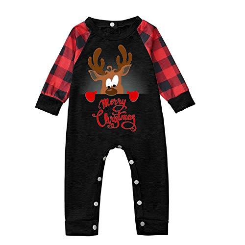 minjiSF Christmas Family Conjunto de Pijamas a Juego clásico a Cuadros Pantalones o Mameluco de bebé Ropa de Dormir de Navidad para bebés niños Adultos