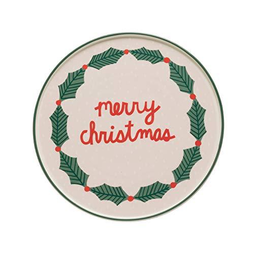 Creative Co-op Merry Christmas & Holly Stoneware Cake Pedestal, Multicolor