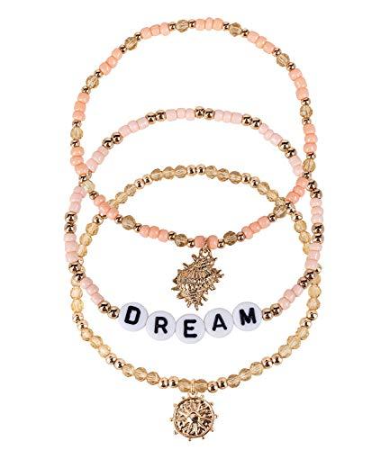 SIX 3er Set Damen Armbänder mit Perlen in rosa und Gold, Aufschrift Dream, goldene Anhänger im maritimen Look (782-636)