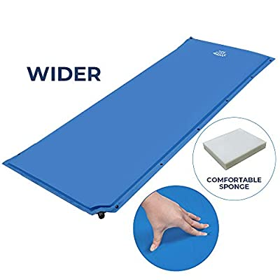 DEERFAMY Wider Self Inflating Sleeping Pad, 25 Inch Super Wide Self-Inflating Camping Foam Pads for Cot, 73 x 25 x 1.5 Inch Large Comfortable for Side Sleeper, Connectable for Family Camping, Blue