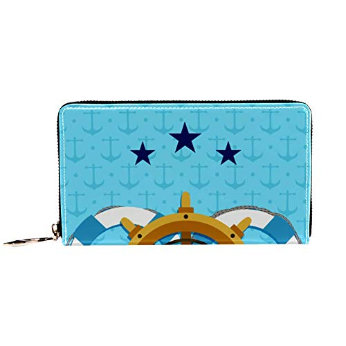 Damen Geldbörse mit Reißverschluss und Handy, Clutch, Reisetasche, Kartenhalter, Organizer, Handgelenke, kreatives Ruder und Rettungsanker-Hintergrund