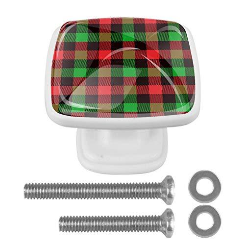 [4 unidades] Tirador de cajón de cristal con tornillos para el hogar, oficina, armario, armario, Navidad, rojo, negro, verde, cuadros