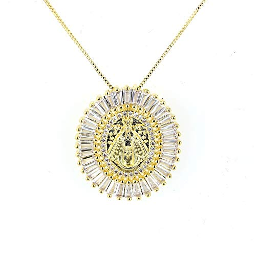 PLY Choker Largo Collar Hecho a Mano Guadalupe Virgen María Católico Cristiano Religioso Religioso Medalla Colgante Cadena (Color : Gold)