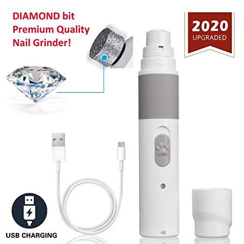 PET NAIL GRINDER - BEST Rechargeable Cordless DOG NAIL Trimmer for Dogs & Cats - Easy & Comfortable to Use - Quiet Motor, Two Speed Options with Light Indicator - Great for Small, Medium, Large Nails.