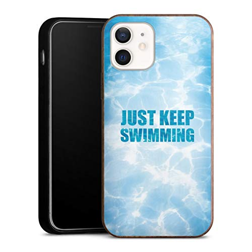 DeinDesign Holz Case kompatibel mit Apple iPhone 12 Walnuss Handyhülle Echtholz Hülle Schwimmen Pool Sommer