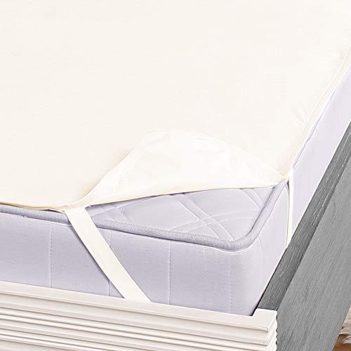 DILUMA Protector de colchón impermeable y transpirable Molton para cama, 100% algodón, impermeable, tamaño: 90-100 x 200 cm