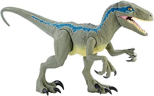Jurassic World- Dino Rivals Velociraptor Blu Dinosauro Articolato da 37 cm, Giocattolo per Bambini 3+Anni, GCT93