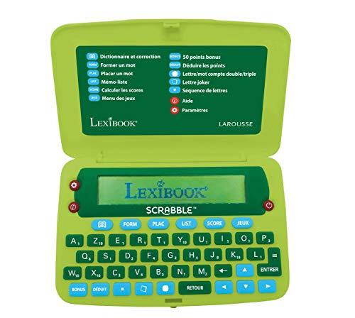 Lexibook-SCR8FR Elektronisches Wörterbuch des Scrabble ODS8, Larousse FISF, ergonomisches Format, große Tasten, Arbike, Korrekturgerät, Definitionen, batteriebetrieben, Grün/Blau, SCR8FR