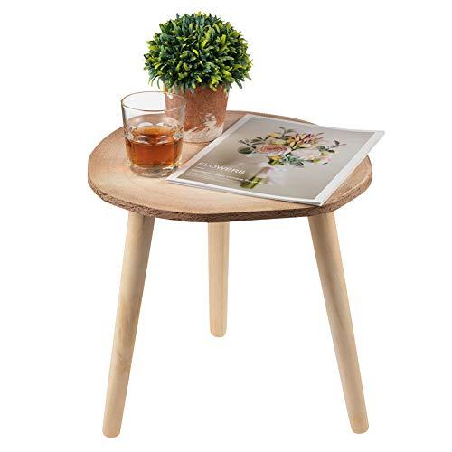 SOPRETY Mesa auxiliar redonda, mesa de salón, mesa de madera, mesa lateral, mesa de café, mesa de café pequeña para dormitorio, salón, jardín, estilo de rueda de 40 x 39 cm