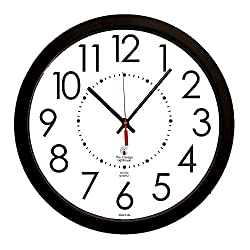 THE CHICAGO LIGHTHOUSE Electric Clock with White Dial, 14-1/2-Inch, Black Frame (67801103)