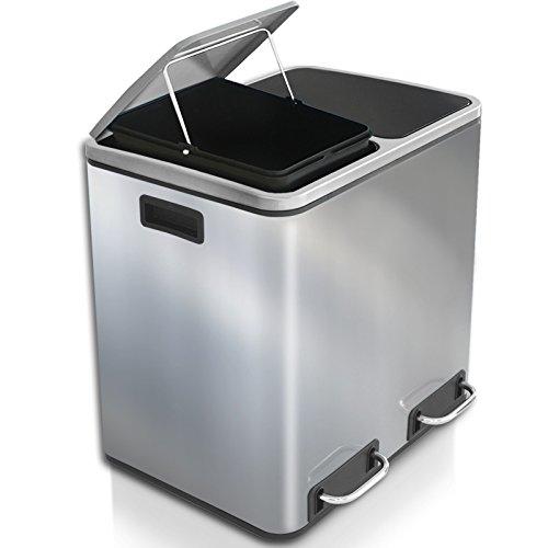 casa pura Abfalleimer Felix | Edelstahl Mülleimer mit Pedal | 2 Fach Mülltrennsystem für Küche und Büro | 30 oder 60 Liter | Trend Farben zur Auswahl (30 L - Silber)
