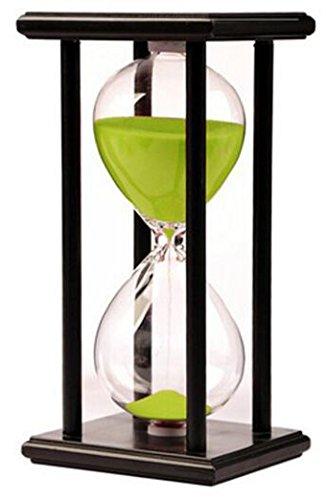 Newbought Sanduhr Timer Uhr Sanduhr 60 Minuten Zuhause Ornament Schreibtisch Dekoration für Wohnzimmer Kaffetisch Schule Spiel 60 Minuten Hourglass Hölzern Rahmen Sanduhr Grün