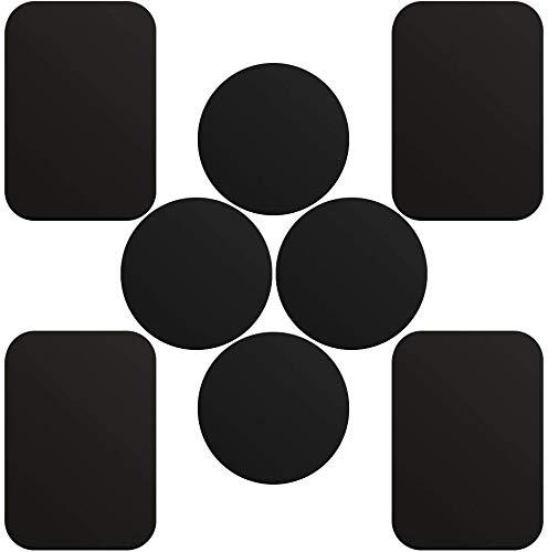 Skyee 8 Pack Piastrine Metalliche 4 Rettangolari e 4 Tonde, 8 Placchetta di Metallo placchetta per Supporto Auto Smartphone Magnetico/Calamita Cellulare Auto per Smartphone e Tablet,Argento