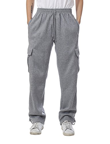 JD Apparel Mens Regular Fit Premium Fleece Cargo Pants 2XL Heather Grey