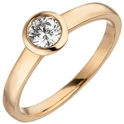 Jobo Damen Ring 585 Gold Rotgold 1 Diamant Brillant 0,15 ct. Diamantring Solitär Größe 56