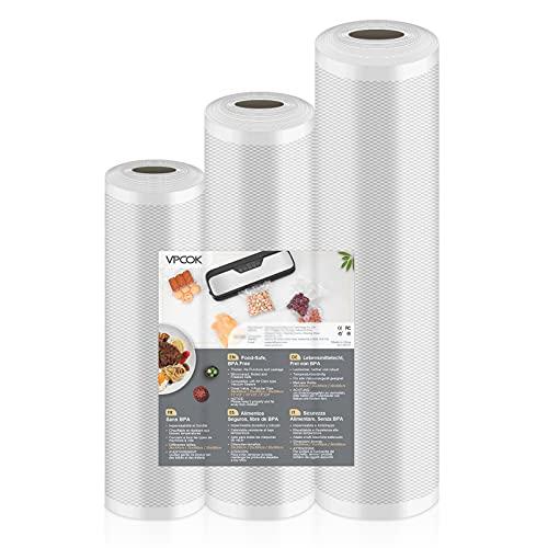 VPCOK Rollos al Vacio para Envasadora al Vacío, 3 Rolls de Varios Tamaños,Almacenaje de Alimentos,Cocina,Sous Vide, 28x300cm/25x300cm/20x300cm