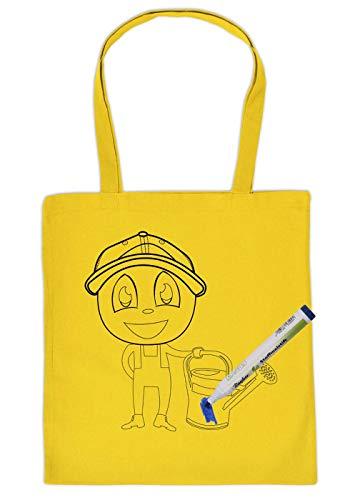Tas om zelf te beschilderen stoffen tas en 5 stuks pennenset jongen met gieter kinderen motief inkleuren stoffen potloden Kids schilderen volgens afbeeldingen