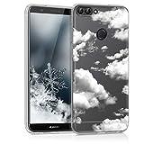 kwmobile Carcasa Compatible con Huawei Enjoy 7S / P Smart (2017) - Funda Silicona TPU Nubes celestes Blanco/Transparente