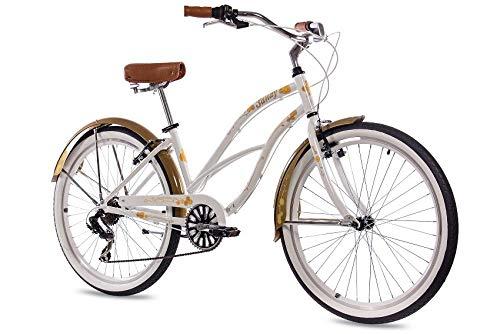 CHRISSON 26 Zoll Beachcruiser Sandy Weiss Gold mit 6 Gang Shimano Tourney Kettenschaltung, Damenfahrrad im Retro Look, Vintage Cruiser Bike
