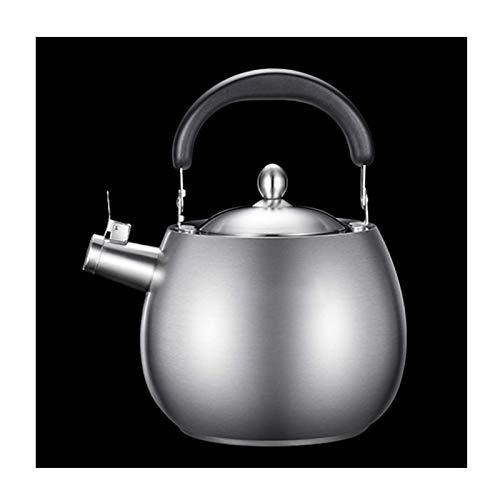 N\C Hervidor de té de Acero Inoxidable 304 para la Parte Superior de la Estufa, Tetera de Gas con Silbato Mango ergonómico Teteras de Agua de café (Color: Plata, Tamaño: 5L)