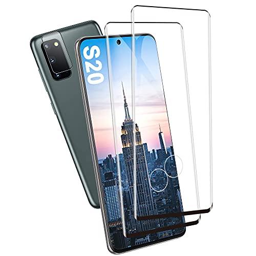 Panzerglas Schutzfolie für Galaxy S20, [2 Stück] [HD Clear] [Linse Schutzfolie] [Fingerabdrucksensor Kompatible] Gehärtetem Glas Displayschutzfolie für Samsung Galaxy S20