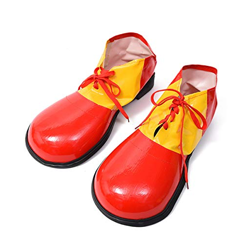 MizHome Unisex Adult Jumbo Large Clown Shoes Deluxe Halloween Costume Accessories Red