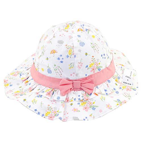 Snyemio Sombrero de Sol Niña Algodón Pescar Gorro Estampado Flores Verano Anti UV Solar para Viaje Playa Piscina