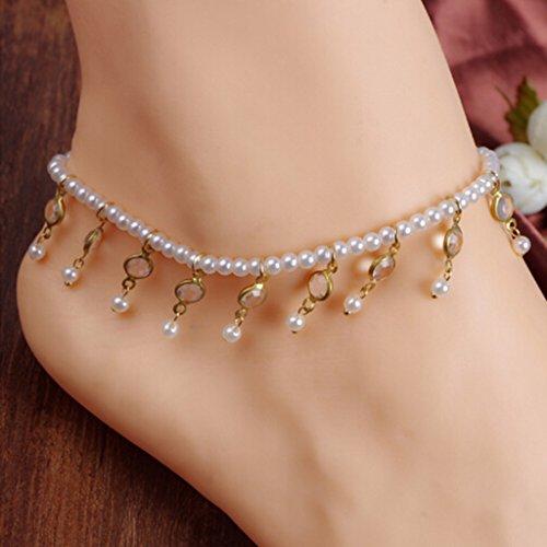 HUAYANG Bracelet Cheville Femme Imitation Perle + Cristal Chaîne Cheville Extensible pour Bal Mariage